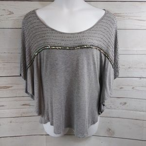 Gaudi Jeans Sequin Bead Embellished Tee Shirt Top